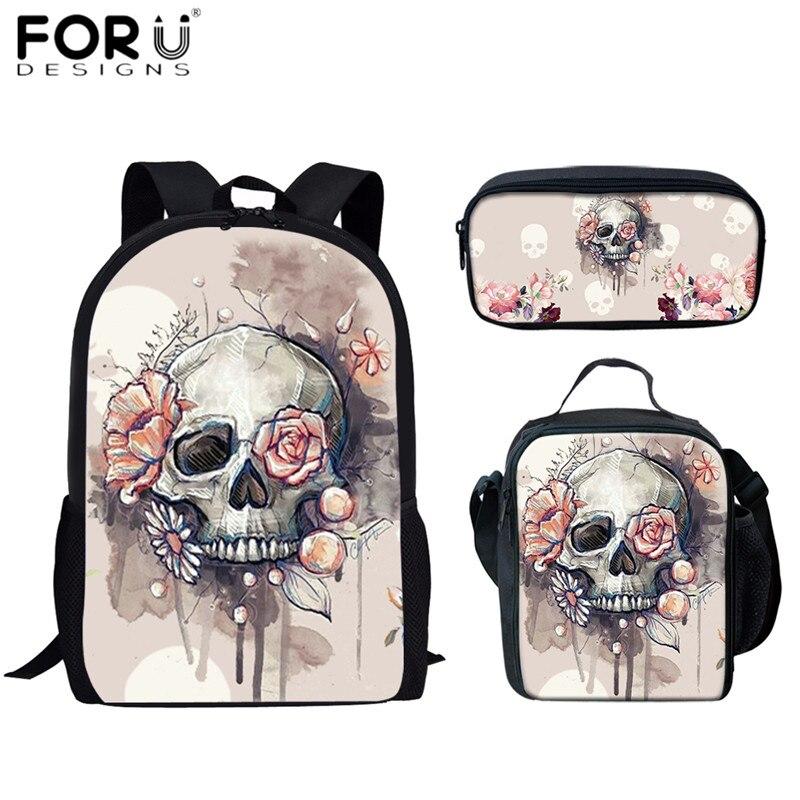 FORUDESIGNS Skull Rose Print 3D School Bags Set Fashion Teenagers Girls School Bookbags Large Capacity Backpacks for Women Bags