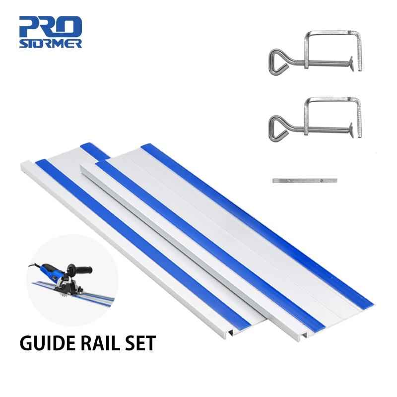 PROSTORMER 2pcs/set 350*83mm Electric Mini Circular Saw Guide Rail Set Straight Line Unlimited Exten