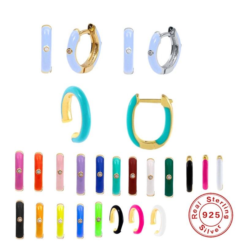 Женские-серьги-кольца-из-серебра-925-пробы-с-фиолетовыми-розовыми-синими-эмалью-и-бриллиантами
