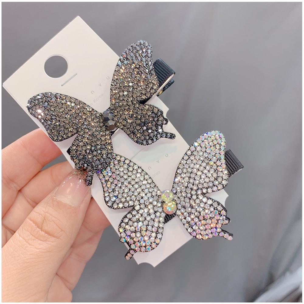 Super Fairy Full Diamond Butterfly Hairpin Simple Side Clip Bangs Clip Hair Card Headdress Duckbill Clip Hair Jewelry