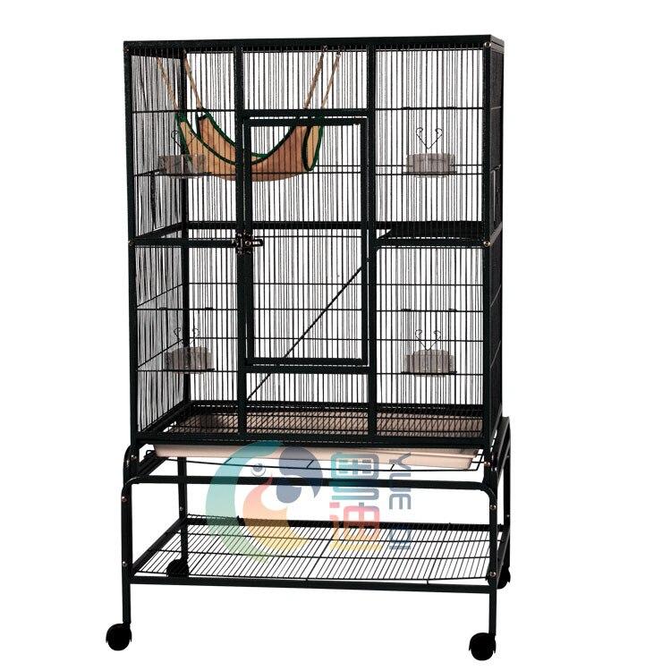 Jaula grande con apertura lateral para mascotas, jaula portátil para mascotas con puertos de expansión en ambos extremos, jaula de exhibición mascotas con hebilla de bloqueo de metal, jaula para pájaros u