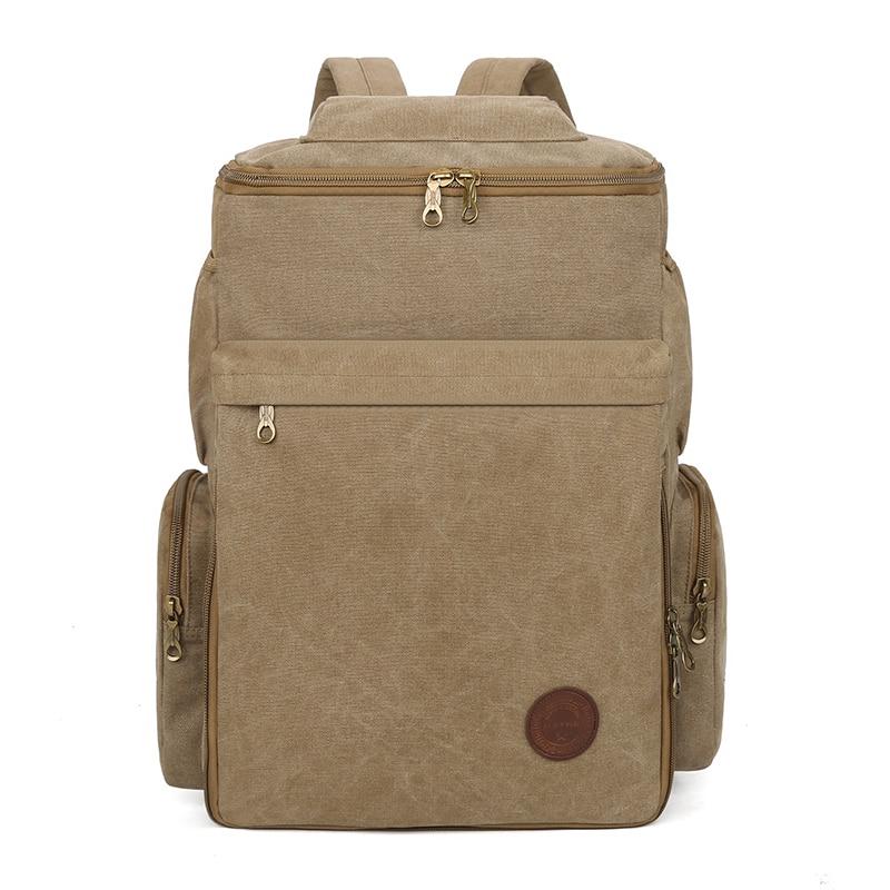 حقيبة ظهر قماشية كلاسيكية للرجال ، حقيبة مدرسية ذات نوعية جيدة ، حقيبة سفر للرجال ، سعة كبيرة ، حقيبة كمبيوتر محمول