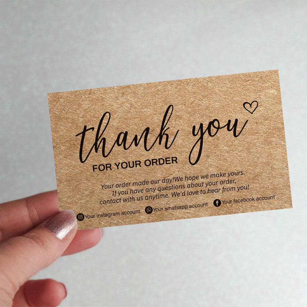 100Pcs Thank You Card Natural Kraft Paper Thank You For Your Order Labels Small Business Commercial Custom Cards Decor Labels