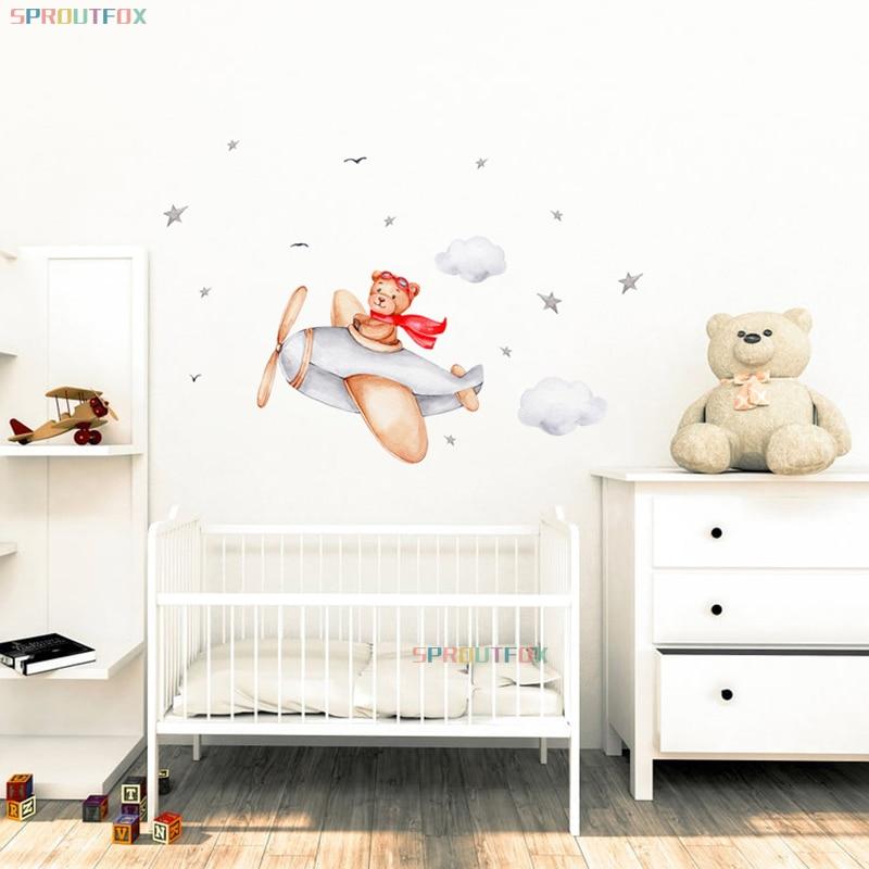 Airplane Bear Wall Stickers for Baby Room Boys Room Cartoon Animal Nursery Home Decoration Cloud Stars Kids Stickers