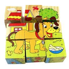 Cartoon 3D Tier Muster Holz Würfel Blöcke Kinder Frühen intellektuelle entwicklung Kinder Pädagogisches Spielzeug