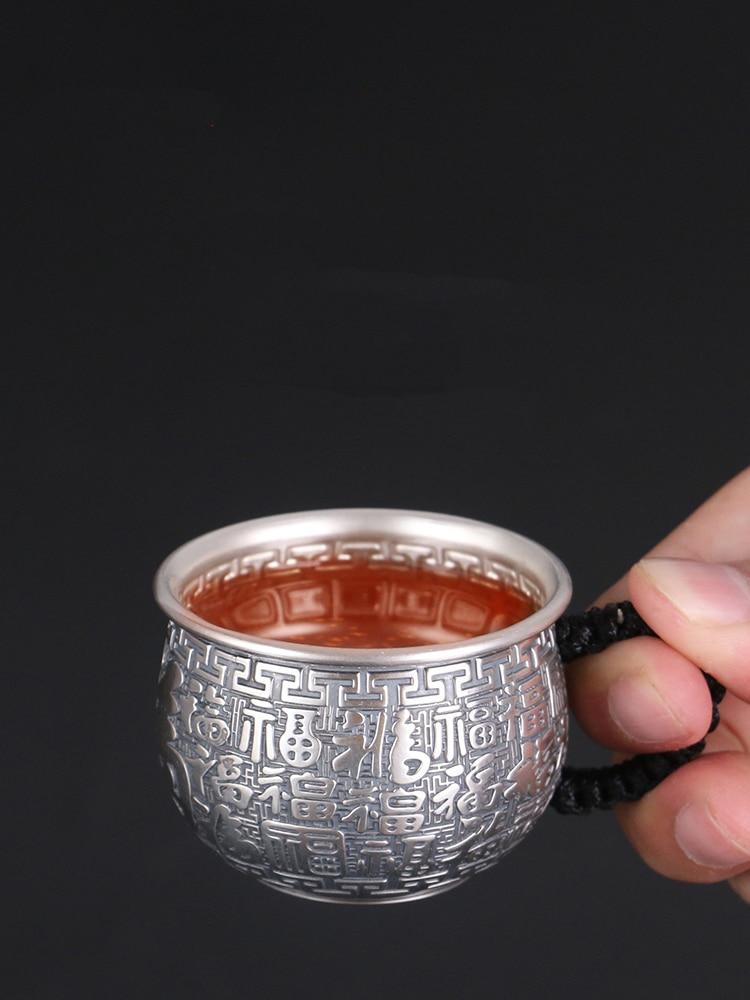 الفضة النقية 999 فنجان شاي الكونغ فو ماستر صغير يبارك معزول فنجان الشاي واحد مكافحة تحرق كامل الفضة مقبض جانبي الرعاية الصحية الهدايا