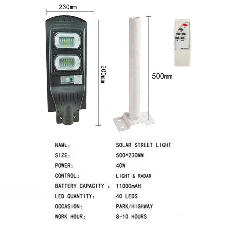 Solar street lights LED Outdoor Lighting 20W 40W 60W  Motion Sensor Waterproof Garden Light for Path Wall Smart Solar Lamp White enlarge