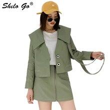 Veste en cuir véritable col marine manteaux femmes vestes automne décontracté cravate col en V simple boutonnage à manches longues en cuir Outwear