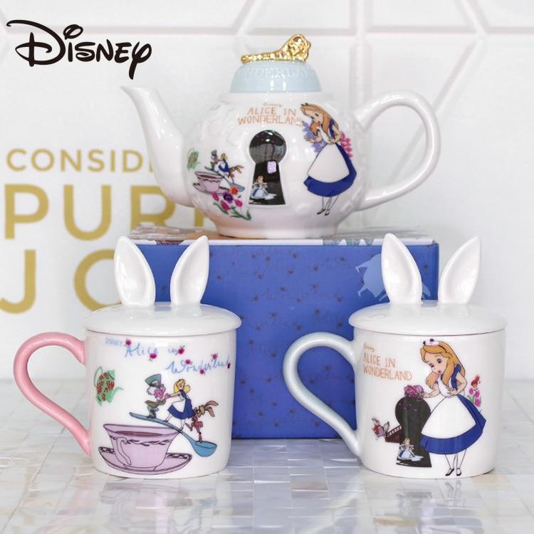 Disney Ceramic Tea Cup Cartoon Alice In Wonderland Afternoon Tea Gold Embossed Couple Cup with Lid Ceramic Teapot enlarge