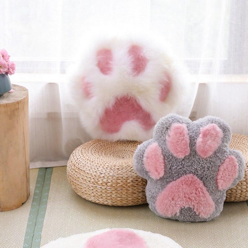 Estilo dos Desenhos Coração em Forma de Gato Pata Forma Travesseiro Quarto Cama Ins Animados Bonito Menina Almofada lã