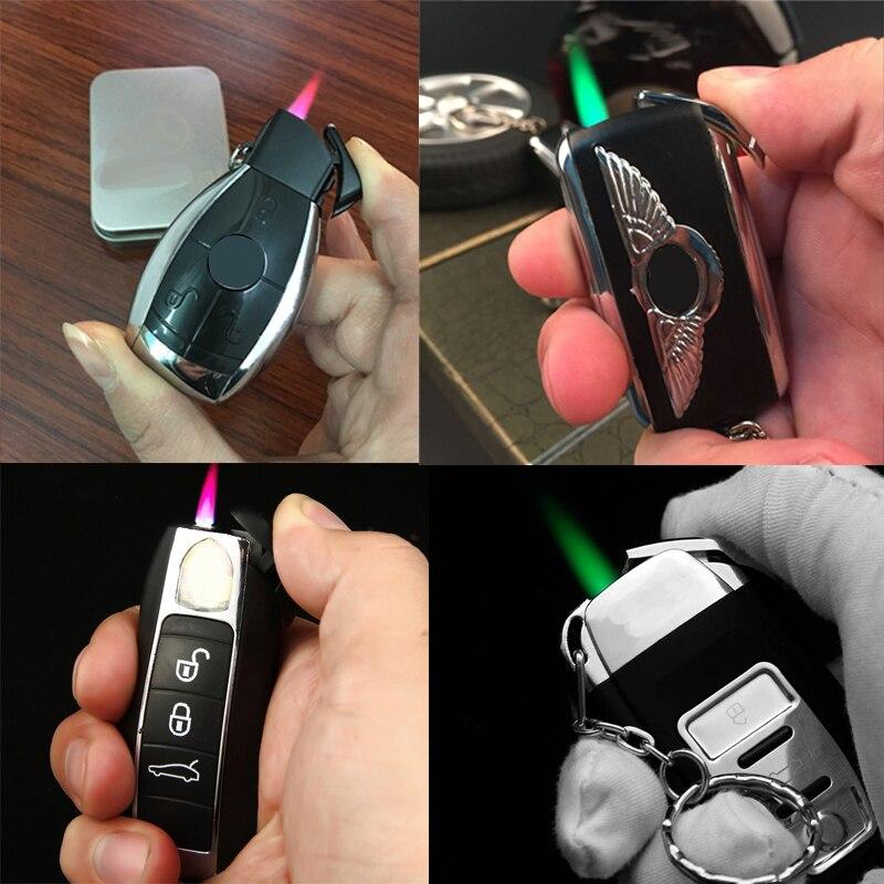 Новый Креативный светодиодный автомобильный струйный факел зажигалка турбо бутан газ надутый брелок для Сигар Зажигалка зеленая зажигалка с пламенем ветрозащитная