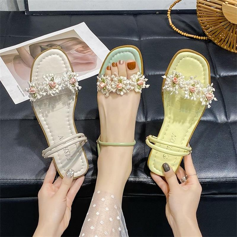 Women's Shoes Fashion Trend Sweet and Elegant Pure Color PU Stitching Transparent Flowers Comfortable Two-wear Sandals 6KF158