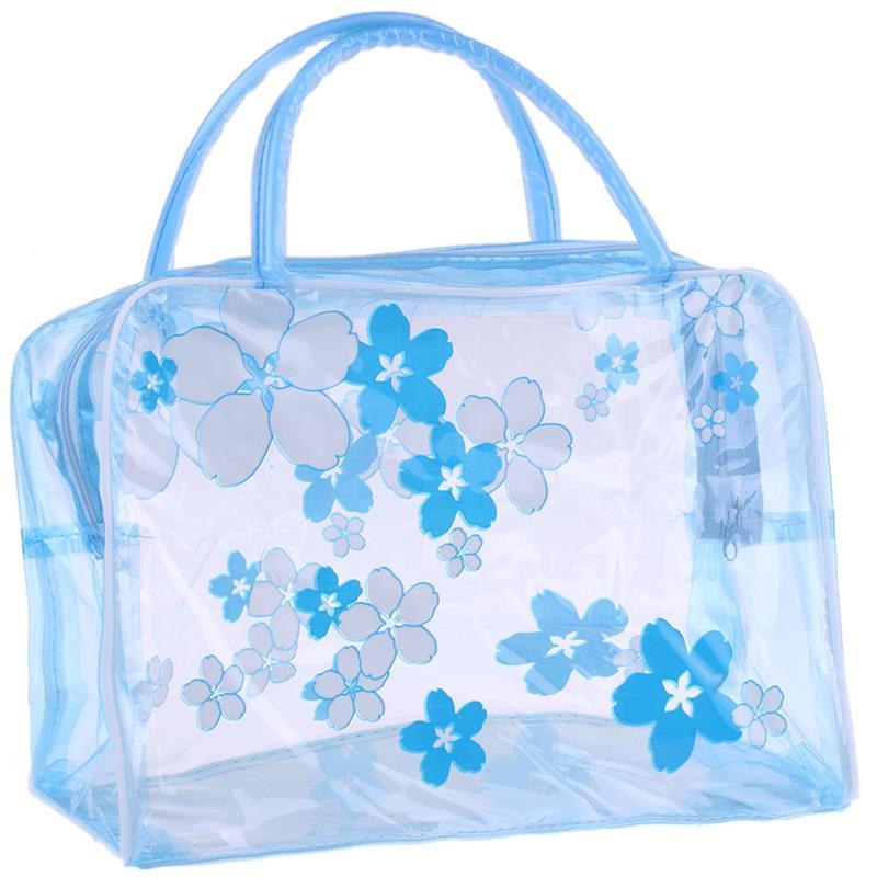 1pc Fashion Printing PVC Plastic Toiletry Bag Floral Waterproof Portable Toiletry Organizer Makeup B