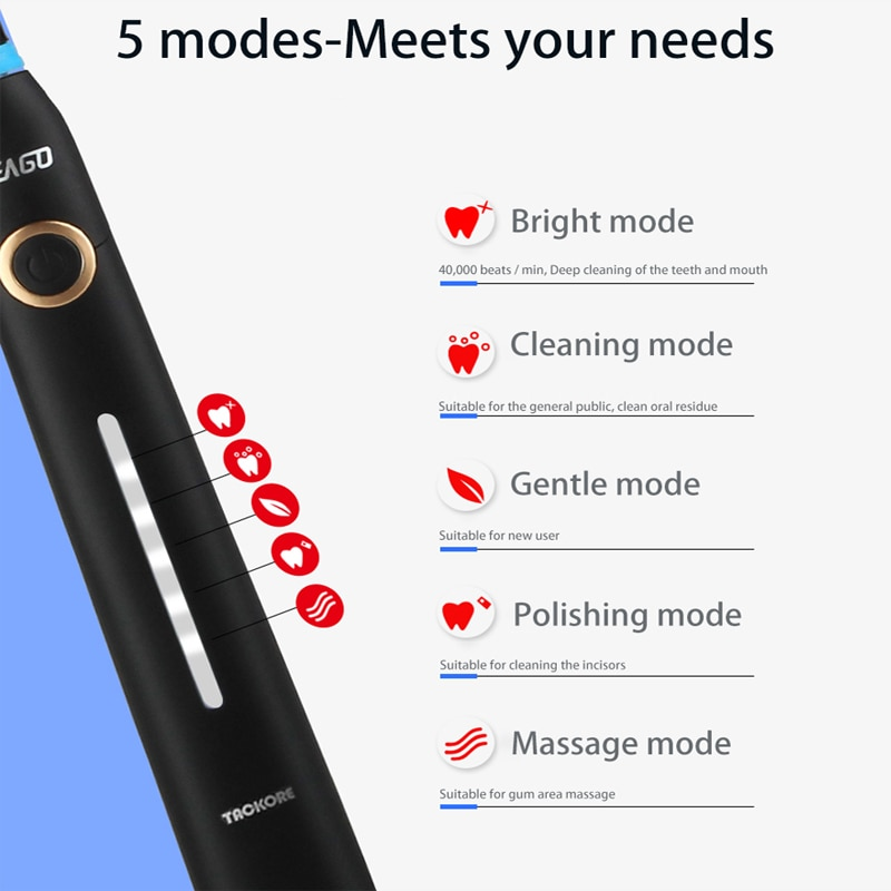 Tackore  Sonic Electric Toothbrush 5 Mode USB Charger Rechargeable  Ultrasonic Automatic Brush enlarge