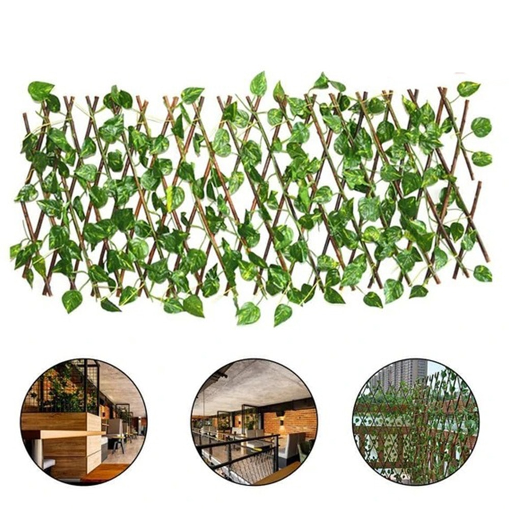 Cerca retrátil para jardim artificial, expansível, faux ivy, privacidade, cerca, trepadeiras, trepadeiras, plantas de jardinagem, decorações para casa