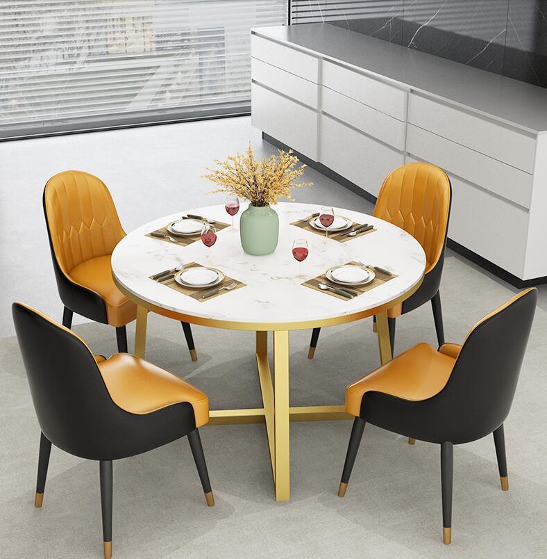 Mesa de comedor de piedra de mármol de lujo con luz nórdica, mesa de comedor redonda para la familia, sala de estar, cocina, mesa de comedor pequeña de tipo familiar, 4 personas, 6 personas