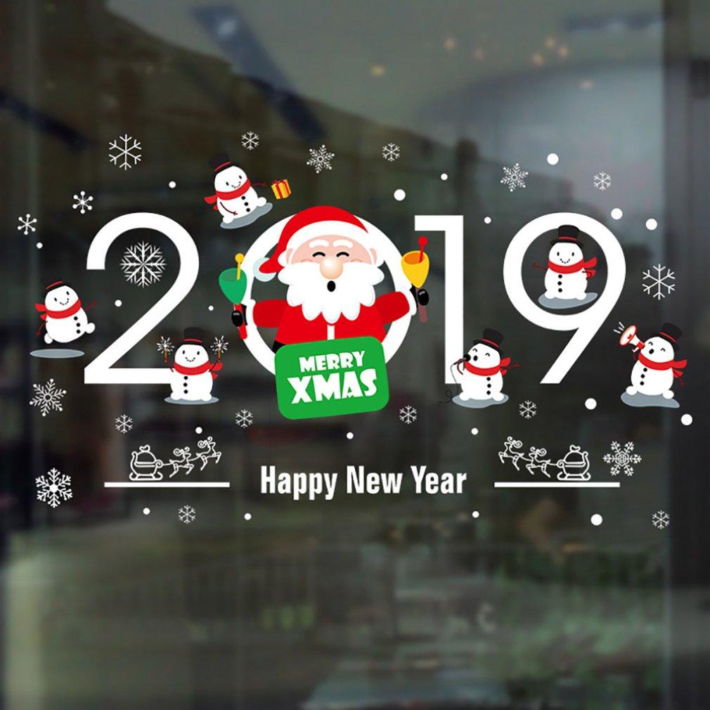 Santa & Deer tienda ventana vidrio puerta pegatina exquisita pegatinas de pared