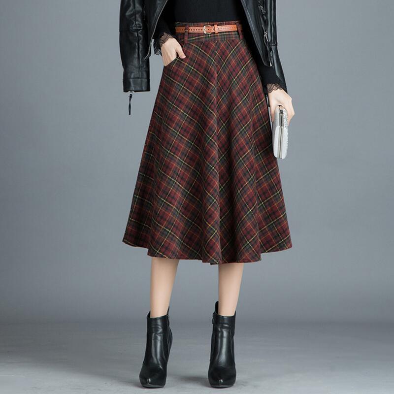 Falda a cuadros de cintura alta a la moda para mujer, Otoño Invierno 2020, Falda plisada de lana fina, falda larga para mujer, faldas para mujer S416