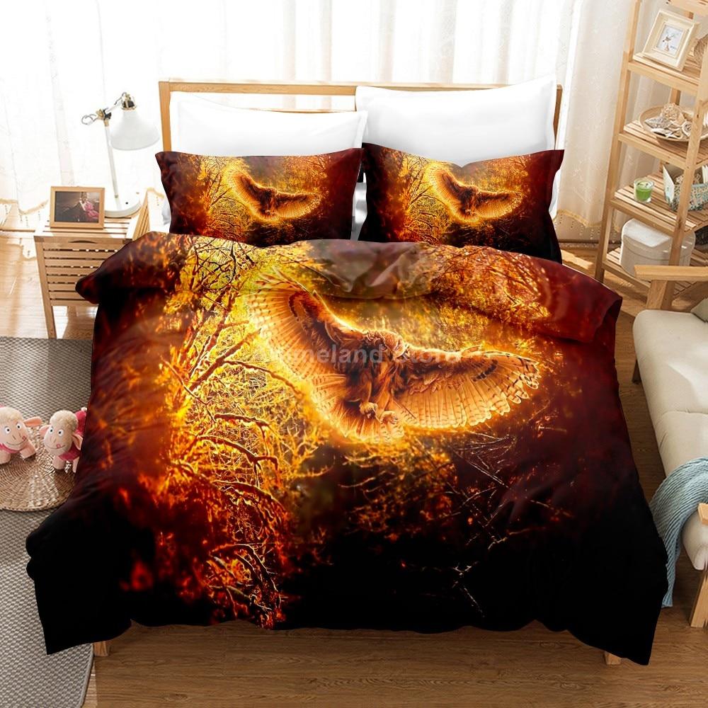 الحيوان البومة طقم سرير الاطفال الخيال أغطية سرير غطاء لحاف ريش مجموعات ديكور المنزل التوأم واحدة الملكة الملك الحجم موضة الكبار هدية