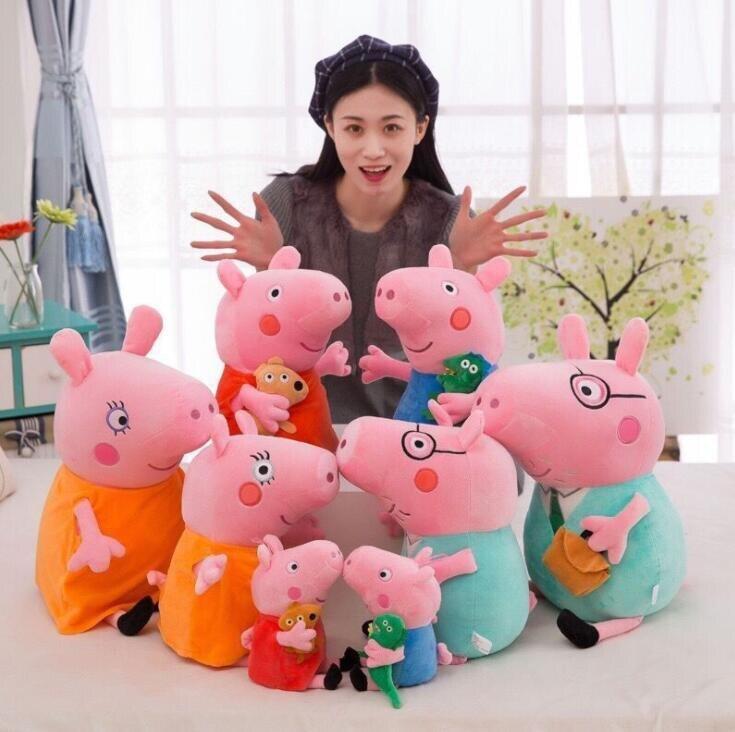 Peluche gigante Peppa Pig George mamá papá familia muñeco de juguete de peluche, cerdo Rosa muñeca para niños bebé niñas decoración fiesta regalo de cumpleaños