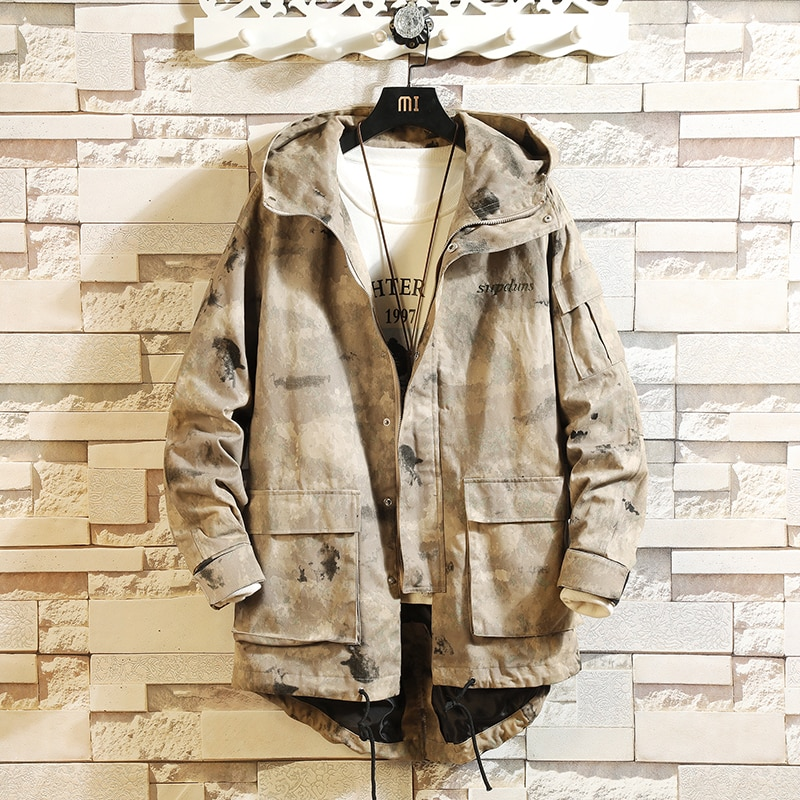 Камуфляжная осенняя куртка-бомбер в стиле милитари, Мужская зимняя уличная одежда, хлопковое пальто, мужские свободные японские куртки и па...