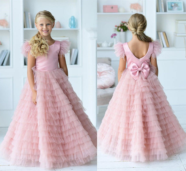 Pink Flower Girl Dress  Puffy Tiered A Line Girls Birthday Party Dresses Feather Cap Sleeve Celebration Dresses Custom
