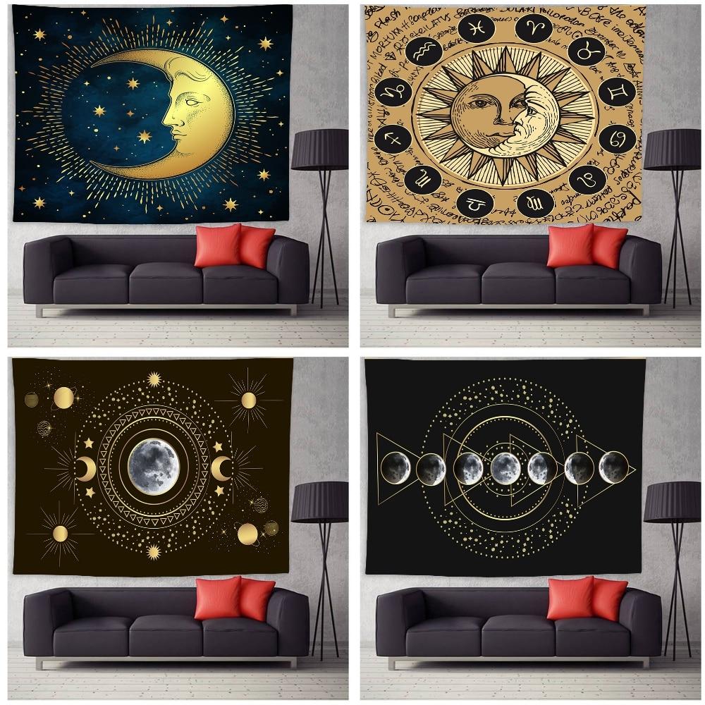 Гобелены в стиле ретро, домашний декор, одеяло, ручной рисунок солнца и полумесяца, настенный подвесной гобелен, Настенный декор для спальни