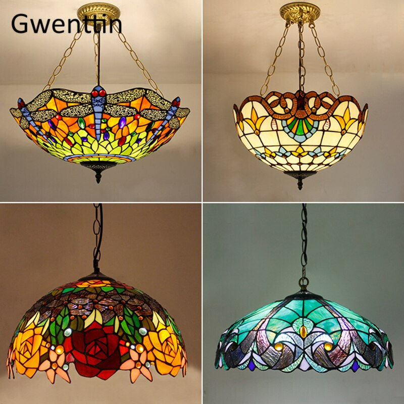 european arts sunflower stained glass e27 ancient tiffany pendant lamp light for bar coffee shop restaurant hanging lights pl548 Mediterranean Tiffany Stained Glass Pendant Lights Vintage Hanging Lamp for Dining Room Kitchen Light Fixtures Home Art Decor