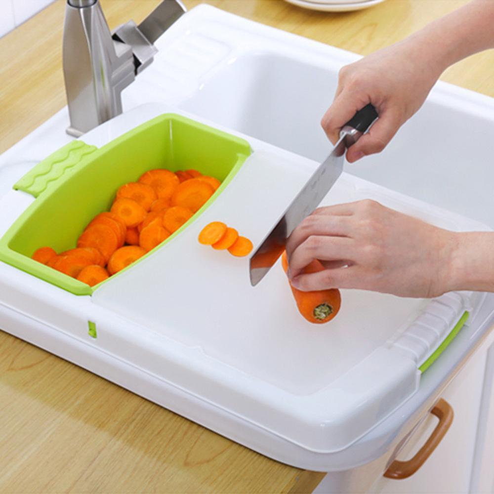 Multi-function Kitchen Cutting Board 3-in-1 Storage Basket Vegetable Fruit Drain Rack Detachable Basket Household