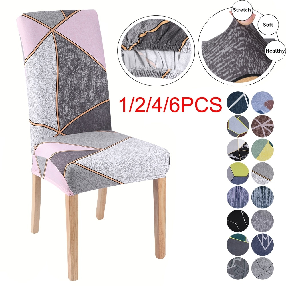 AliExpress - 1/2/4/6pcsElastic Stretch Dining Chair Covers Washable Slipcovers Protector Dust-proof Furniture Decor For Wedding Banquet Party
