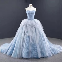 dd jyoy simple style tiered ball gown evening dress long train sweetheart neck 3d flowers formal women evening gown lace up back