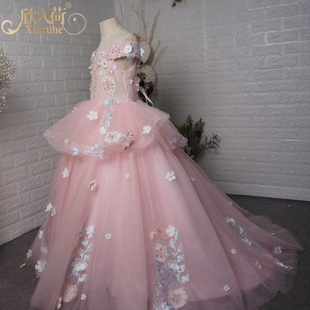 Pink Flower Applique Flower Girls Dresses Princess Ball Gowns Girls Pink Birthday Party Festival Gowns Custom