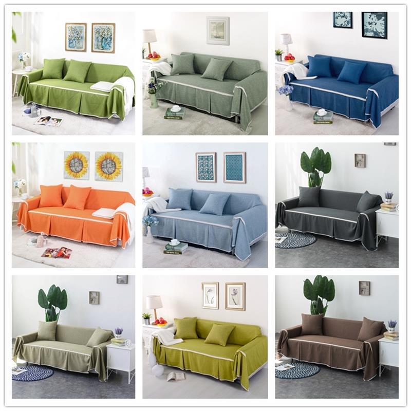 Toalla de sofá gruesa de Color sólido de Mmermind cubierta de sofá de lino para sala de estar cubierta de polvo de sofá AR15 #