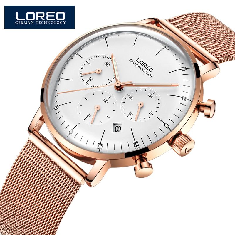 LOREO موضة جديدة منحني الهاتفي رجالي ساعات مع 316L شبكة معدنية حزام العلامة التجارية الفاخرة الرياضة ساعة كوارتز بكرونوجراف الرجال 6112L