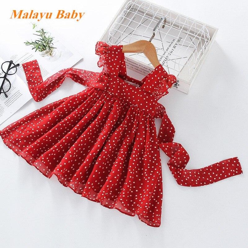 Vestido para niñas Malayu, novedad de verano, vestido sin mangas de gasa de lunares para niñas, vestidos de princesa para niñas, ropa para niños de 2 a 7 años