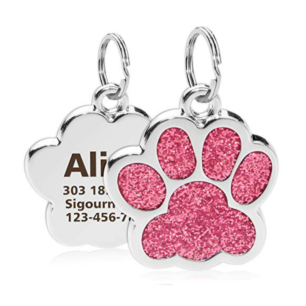 Personalized Dog Cat Tags Engraved Cat Dog Puppy Pet ID Name Collar Tag Pendant Pet Accessories Paw Glitter Pendant
