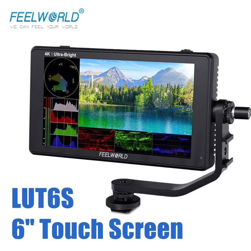 Feel world LUT6S 6 بوصة 2600nits رصد ثلاثية الأبعاد لوت HDR شاشة تعمل باللمس DSLR كاميرا جهاز المراقبة الميدانية 3G-SDI 4K HDMI الموجي الرسم البياني