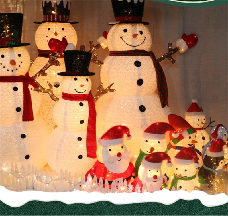 1.2m 1.5m Christmas Lights Snowman Santa Claus Decoration Lights Shop Window Shopping Mall Scene Layout Christmas Ornaments Lamp