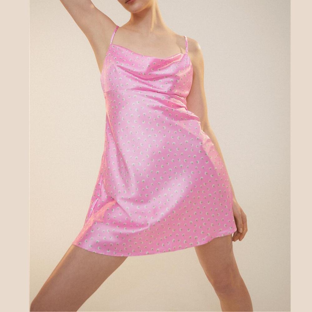 2021 ZA summer new draped collar floral print satin textured sling dress skirt RA 2587054 2587/054