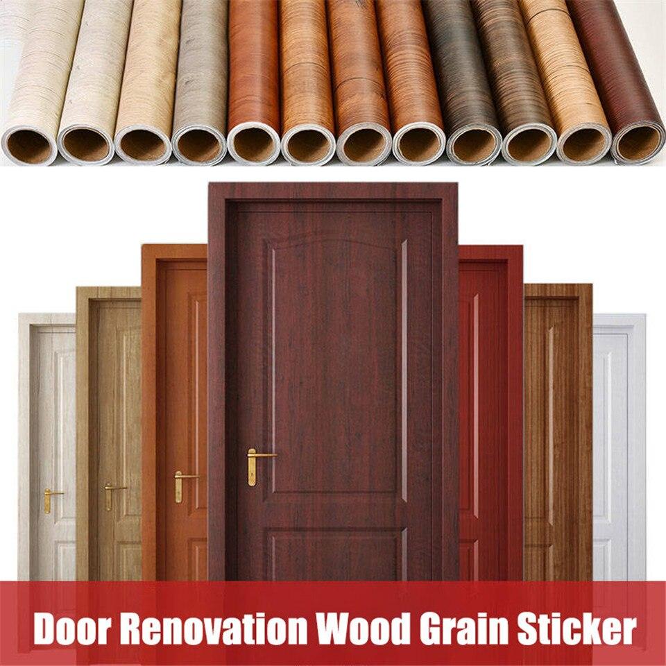 Etiqueta autoadhesiva de PVC para puerta de madera, papel pintado impermeable, a prueba de humedad, para armario, renovación de muebles, etiqueta de decoración de puerta de madera