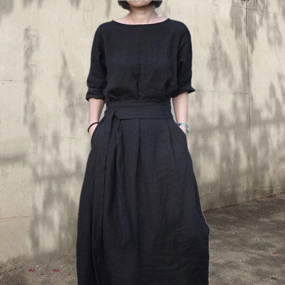Maxi Boho Dress 2020 Spring Korean Style Solid Women Knee Party Black Dress Cotton Linen A-Line Vestido Japan Girls Dresses