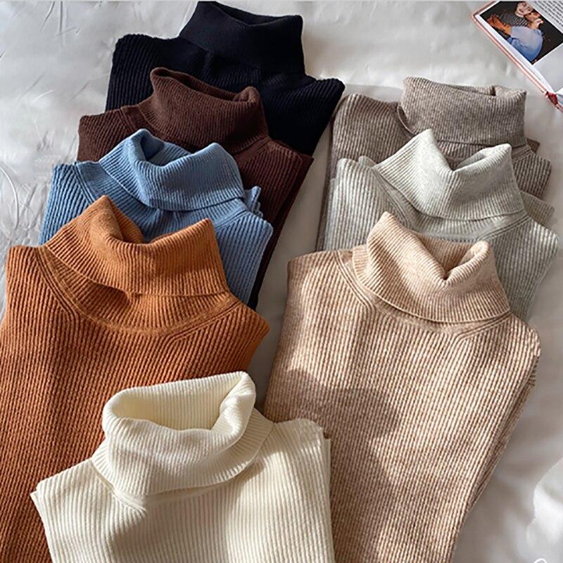 Осенние вязаные женские водолазки, свитера, пуловеры, зимние базовые повседневные теплые женские свитера, тонкие женские корейские модные ...