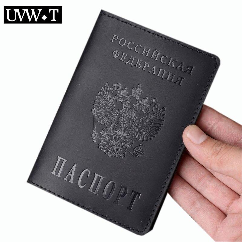 Couro de vaca genuína ru rússia capa de passaporte do vintage moeda documento bolsa id banco cartão de passagem titular bolsa de viagem