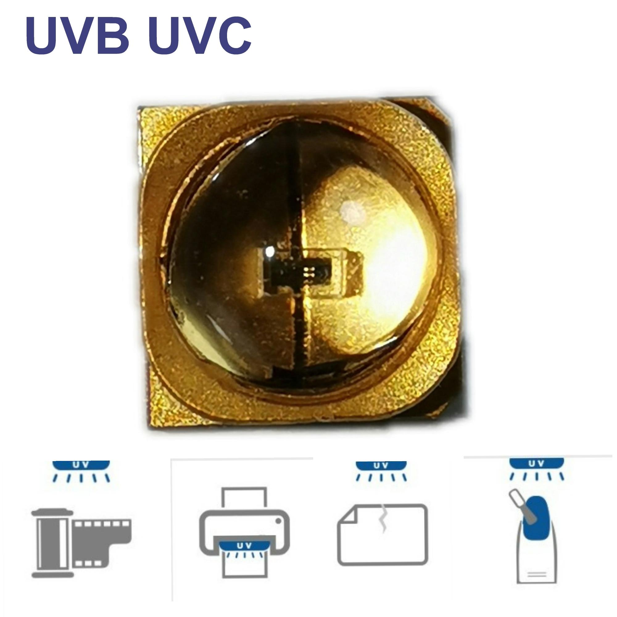 5 uds. power 265nm UV lámpara LED perlas para UVC gel curado luz SMD 3535 chip Seul Quartz paquete LED 3D impresión LED curado