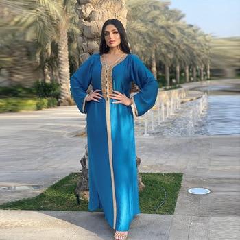 Ramadan Eid Blue Maxi Dress For Women Modest Muslim Turkey Arabic Dubai Diamond Ribbon V Neck Long Sleeve Jalabiya 2021