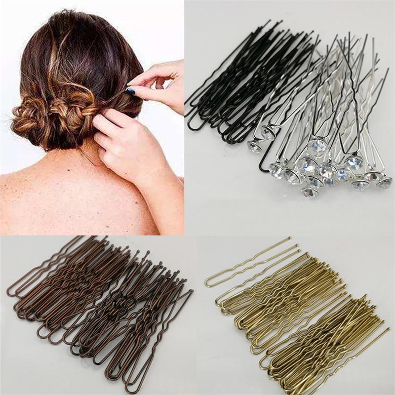 Horquillas de pelo 20/40 Uds 6cm en forma de U horquillas para mujeres niñas novia Accesorios para peinados marrón dorado horquillas de Metal