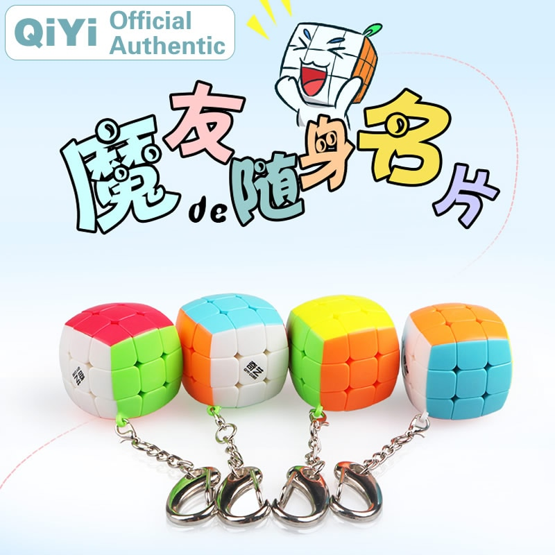Qiyi chaveiro 3x3x3 cubo mágico mofangge xmd chaveiro pingente corrente 3x3 mini profissional neo velocidade cubo quebra-cabeça anti-stress