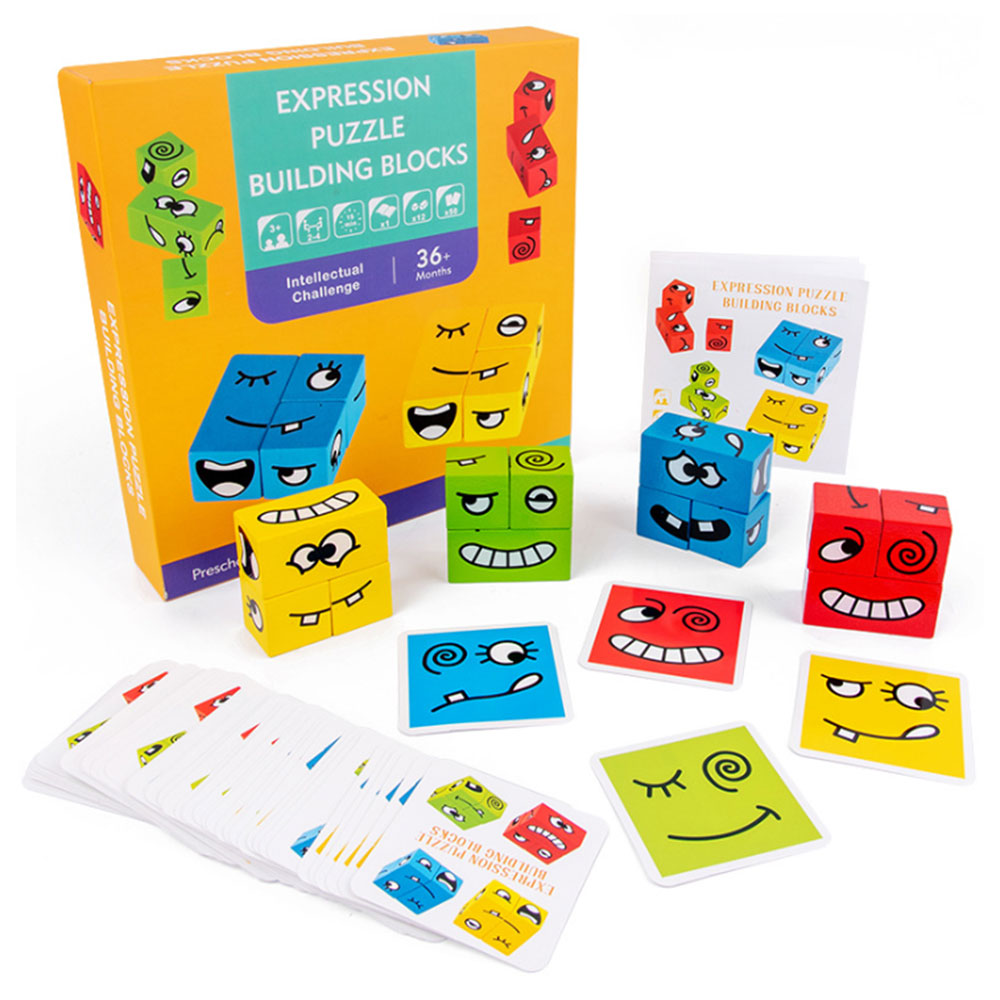 Crianças De Madeira Blocos de Empilhamento de Expressão Facial Máquina de Cartões de Brinquedos Early Learning Educacional em sala de Aula para Terapia da Fala