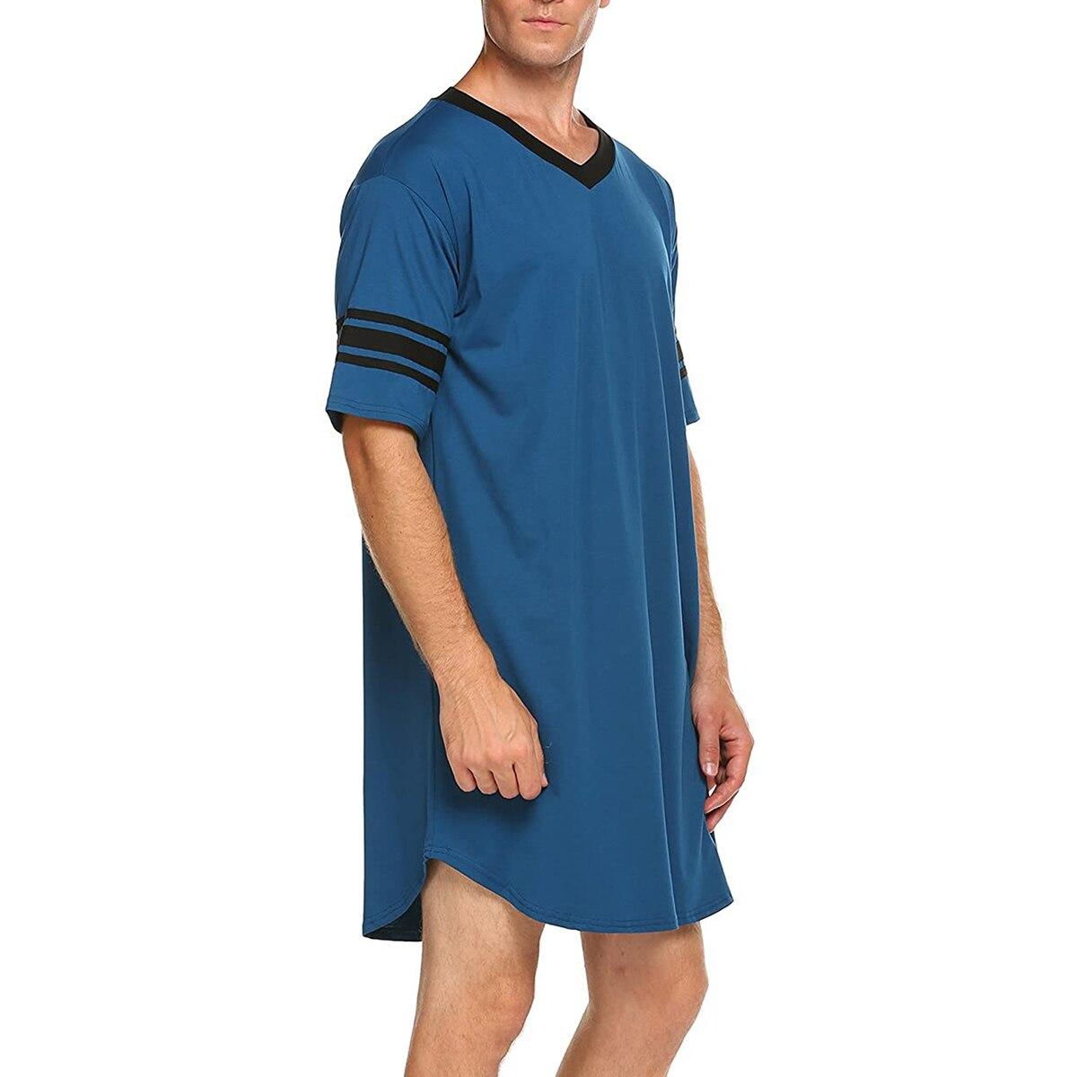 Новинка Мужчины Хлопок Повседневная С короткими рукавами Длинные Ночная рубашка Мягкие Свободные Пижамы Пижамы Синий% 2F Серый% 2F Черный% 2F Красный