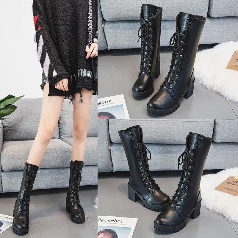 Women shose Boots Martin Boots High heel Mid-calf  Warm Winter Autumn Plus Size Designers Motorcycle boots botas de mujer